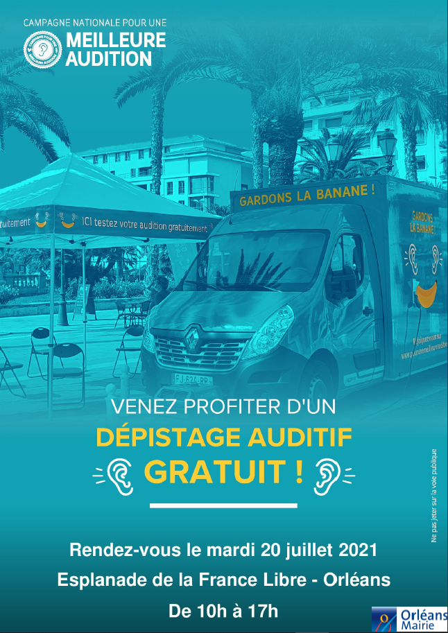Dépistage auditif gratuit le 20 juillet, Esplanade de la France Libre, Orléans, de 10h à 17h